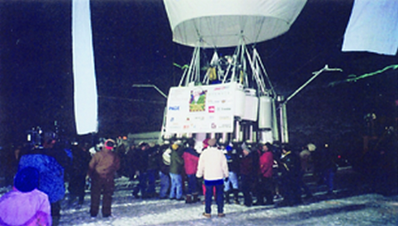 The 165' high hot air balloon J. Renee just before take off from an Illinois quarry in 1997.