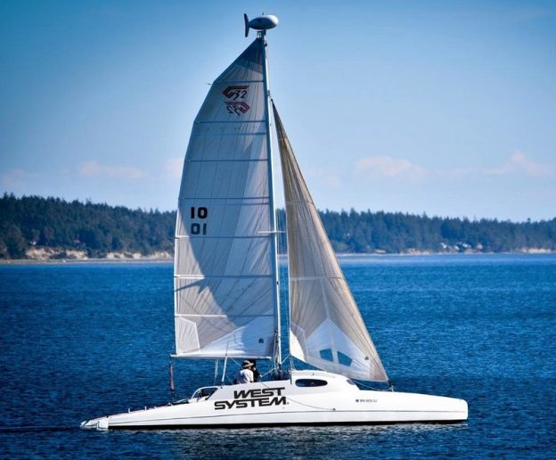 Incognito is a Gougeon-built 32' catamaran