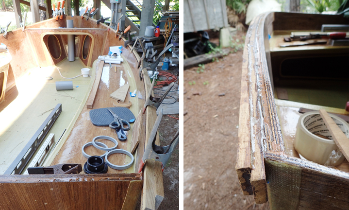 Left: Dry fitting the rabbeted teak gunwales. Right: The teak gunwales epoxied together on the transom with Six10.