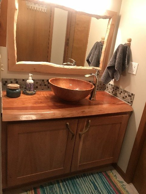 Black cherry basin with epoxy and polyurethane.