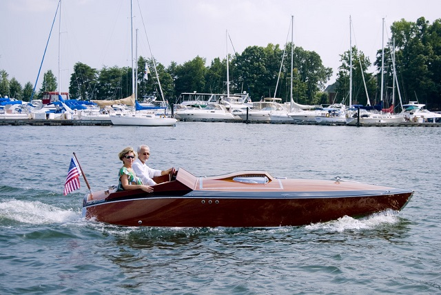 This classic wooden speedboat is named DEJAVU