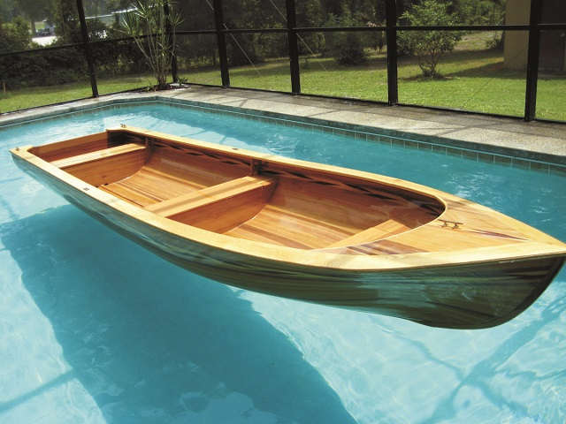 "PREMA 161 is a 16;1"" skiff, shown here floating in swimming pool"
