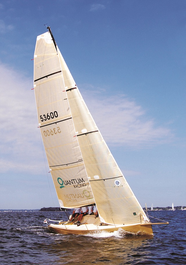 Brian Jones's BC27 sailboat under sail.