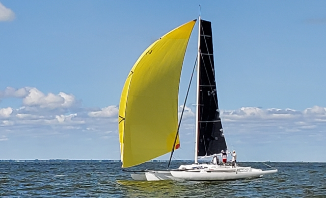 ADAGIO, on of FLICKA's contemporaries, sailing in the Gougeon Brothers' multihull regatta in 2019.