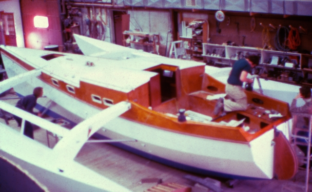 FLICKA was built in the Gougeon Brothers boatshop on the Saginaw River in Bay City, Michigan.