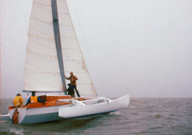 Jan Gougeon sailing aboard his trimaran, FLICKA