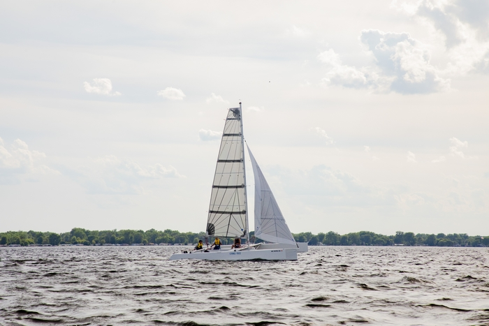 STRANGE MAGIC, a trimaran designed and built by Jon Staudacher, headed out to race on the Saginaw Bay.