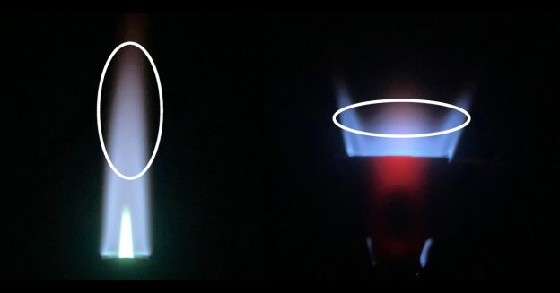 On the left is a typical propane torch flame. On the right is one with a flame spreader attachment. The highlighted sections indicated the optimal zone for flame treating plastics.